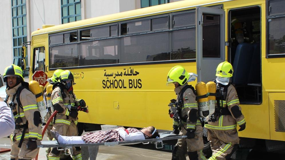 A SCHOOL BUS WENT THROUGH AN ACCIDENT IN DUBAI