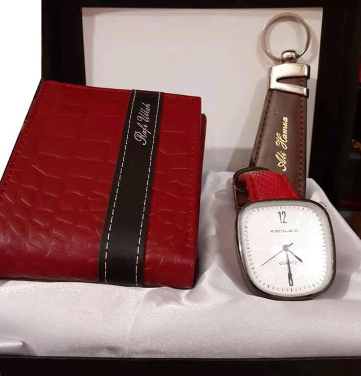 Coustomized 3in1 Wallet,keychain & Watch Set