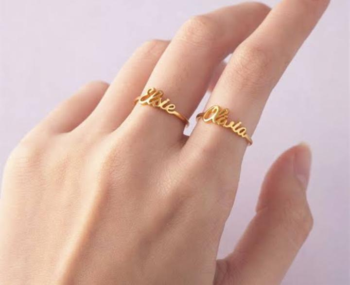 Customized Single Name Golden Ring