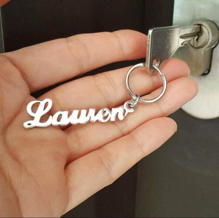 Customized Single Name Silver Keychain