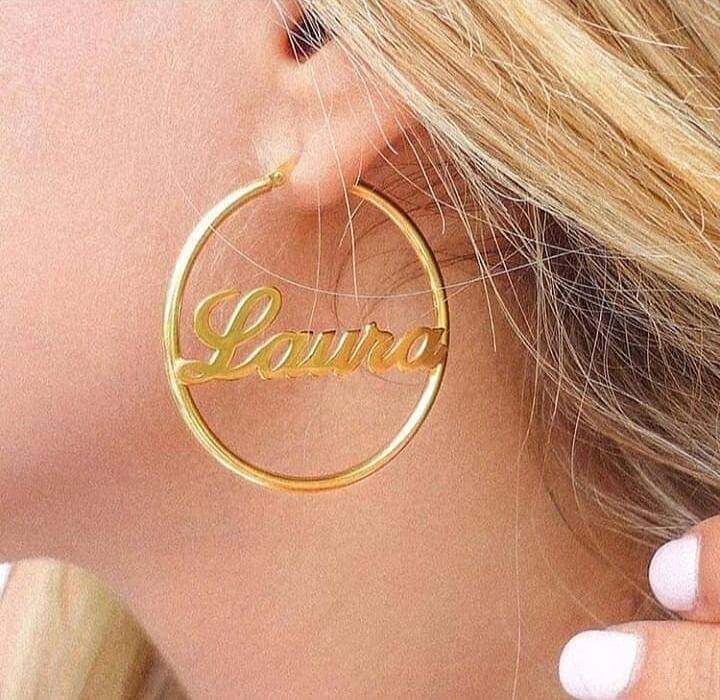Customized Single Name Ring Earing