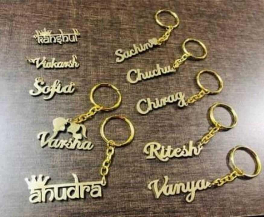 Customized Golden Single Name Keychain