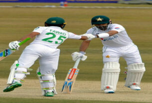 A SIZEABLE FIRST-INNINGS SCORE BY BABAR AZAM & FAWAD ALAM AGAINST SOUTH AFRICA