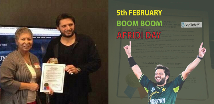 FEBRUARY 5 DECLARED AS SHAHID AFRIDI DAY BY TEXAS