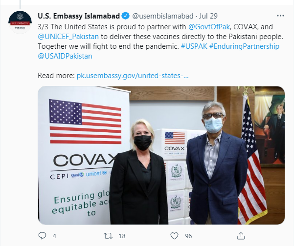 covax supply to Pak